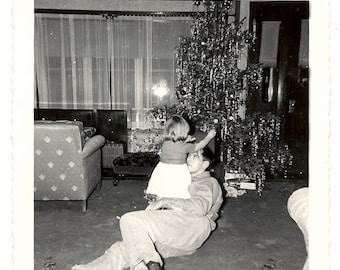 1949 Snapshot of Toddler Cindy and Dad at Christmas