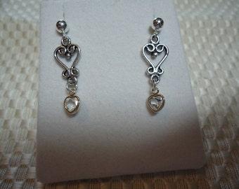 Heart Cut White Topaz Dangle Earrings in Sterling Silver  1802