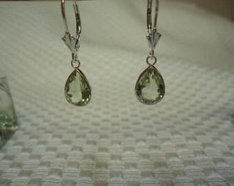 Pear Cut Green Amethyst Leverback Dangle Earrings in Sterling Silver