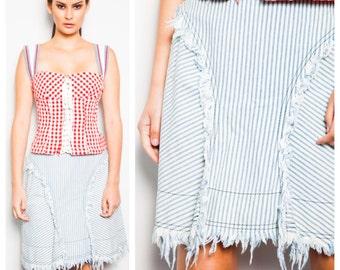 SALE was 265 now 185 vintage 90s VIVIENNE WESTWOOD A-line striped ticking frayed hem denim light blue white skirt