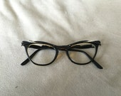 U/Z Black & silver cat eye frames with metal details at temple and arms eyeglasses vintage 1950's - 1960's