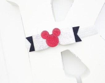 Mickey mouse headband- Baby girl headband- Toddler headband- Disney headband- Hair accessory- Silver Black hair bow-Glitter bow- Photo prop-