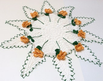 Vintage Crocheted Doily, Crocheted Rose Doily, Very Detailed with Individual Petals, Exquisite Work