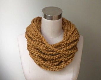 Gold Chain Scarf / Short / Infinity Chain Scarf / Honey Gold Scarf / Mustard Scarf / Crochet Chain Scarf