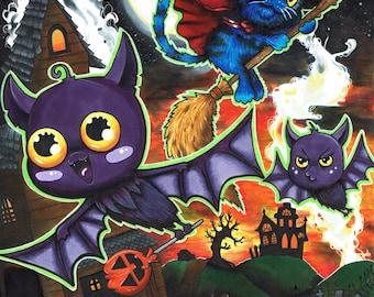 Halloween Flight Post Card Print