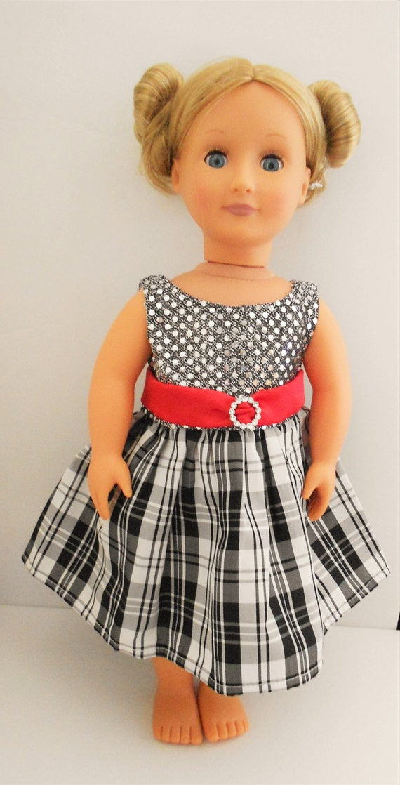 And silver holiday christmas dress for american girl and 18 inch dolls