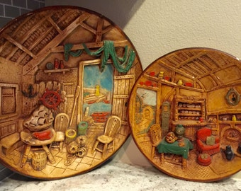 Vintage Wall Decor Nautical and Cottage 3D Scene