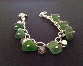 Genuine dk green sea glass charm bracelet with swarboski crystals on sterling silver heavy chain