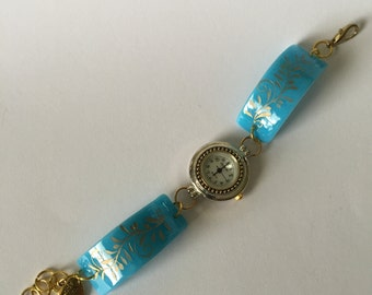 Fused Sandblasted Floral Glass Watch