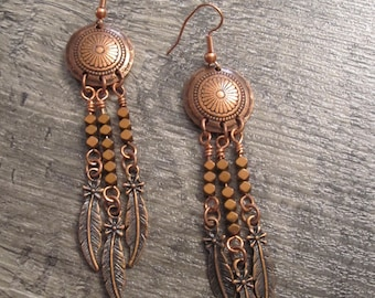 Copper Concho Earrings with Rose Gold Hematite Gemstones