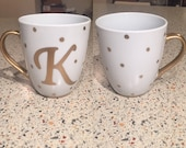 Gold initial letter mug