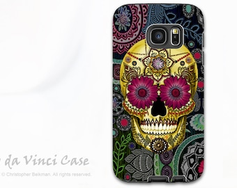 Colorful Paisley Sugar Skull - Artistic Galaxy S6 EDGE TOUGH Case - Dual Layer Protection - Sugar Skull Paisley Garden