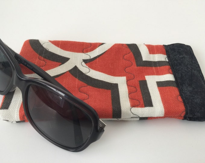 Pinch Open Sunglass Case, Padded Glasses Case, Easy Open/Close Sunglasses Case, Orange and Grey