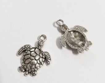 Turtle Charms Pendants Tortoise Charms Sea Turtle Charms Antiqued Silver Ocean Charms Nautical Charms Wholesale 50 pieces