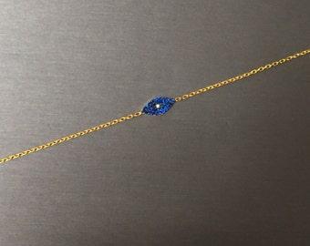 Modern Blue Eye Bracelet-Gold