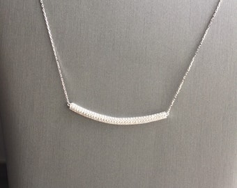 Silver Rounded Pave Bar Necklace