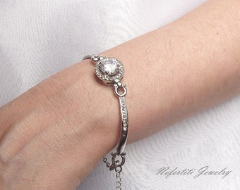 silver wedding bracelet crystal bangle bracelet bridesmaid bracelet swarovski halo bracelet bridal bracelet wedding jewelry cz bracelet