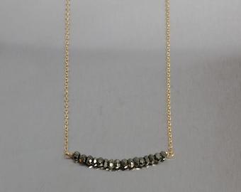 Gray Pyrite Bar Necklace