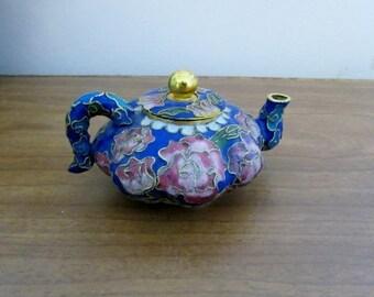 CIJ Teapot, Cloisonné, Asian Oriental, Enamel, Blue & Flowers, Miniature Tea Pot with Lid - BreezyJunction.etsy.com