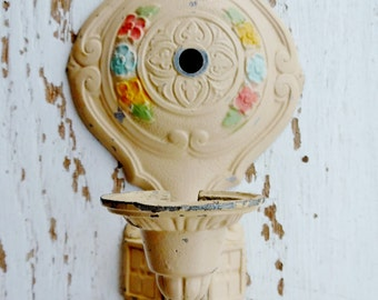 Vintage Art Deco Wall Sconce Wall Light Fixture Ornate Cast Metal Painted Floral Lighting 1940's
