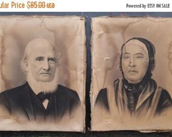 ON SALE Pair Antique 1800's 19th Century Victorian Charcoal Portraits of Minnesota Farm Couple, Vintage, Art, Portrait, Man, Woman
