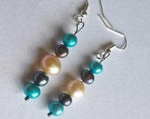 Freshwater Pearl Hypoallergenic Dangle Earrings: Natural Creamy White, Dyed Aqua Blue, Dyed Black