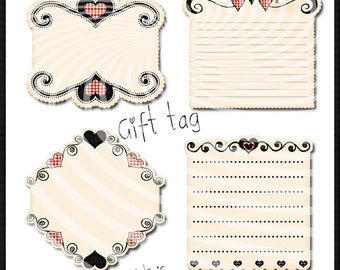 Tag,label rétro,vintage, png  , vichy,red,black,pack gift tag instant download