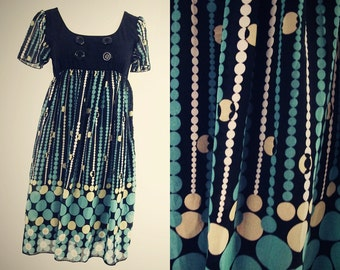 Vintage MOD Mini Dress - Geometric Print - Black and Blue - M/L