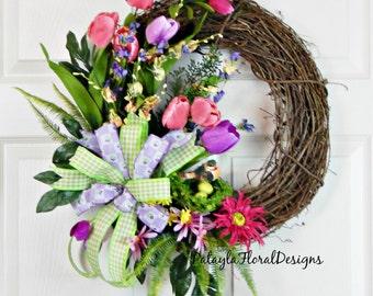 Tulip Wreath w Bird  Nest,  Purple Grapevine Wreath, Mother's Day Gift, Everyday Wreath, Wreath with Bow, Handmade Wreath, Outdoor Wreath