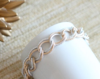 Silver and Gold Chunky Chain Bracelet 7.5""