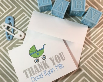 Personalized Baby Shower Thank You Cards - Choose Your Color