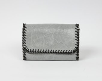 Grey leather clutch|Italian leather purse|Handbag with chain strap|DeZavuBoutique grey leather clutch|Crossbody handbag