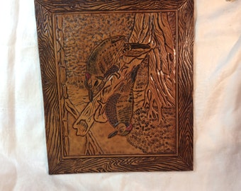 Leather Tooled Woodpeckers Picture Vintage