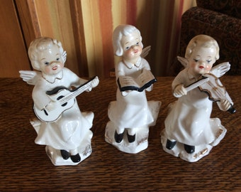 Vintage Angel Musicians Lot of 3 Seated on Logs