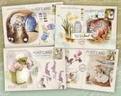 Art Mail - Beatrix Potter - Illustrations stories - digital collage sheet - set of 4 cards - Printable Download