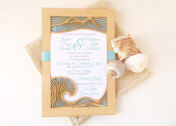 Beach Wedding Invitation and Response Card made from Laser Cut Wood and Paper - SAMPLE LISTING