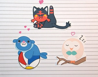 Litten/Popplio/Rowlet Stickers and Magnets