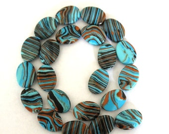 Black and Blue Striped Turkey Turquoise Oval Beads