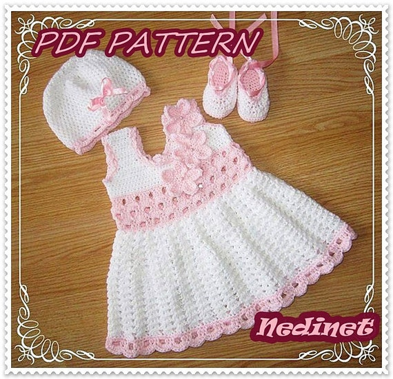 Crochet Baby Winter Dress Pattern : Crochet baby dress pattern crochet dress set pattern crochet