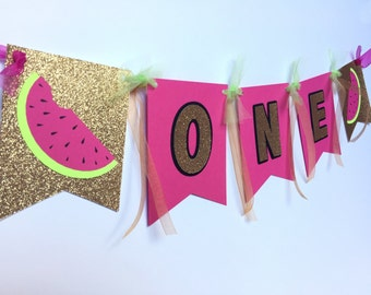 CUSTOM Watermelon Summer Tropical Birthday Banner - ONE in a Melon  - Summer Birthday Party - High Chair Banner - Custom Wording on Banner