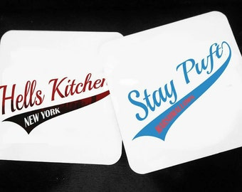 Hell's Kitchen - Stay Puft Marshmallows- New York - Daredevil - Ghostbusters - Hardwood Coasters