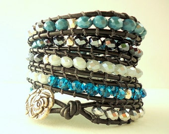 Leather Wrap Bracelet, 5 wrap bracelet, goth bracelet, blue grey bracelet, teal blue bracelet, metallic silver bracelet, gray bracelet