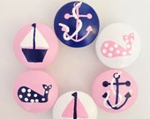 CLEARANCE SALE Pink and Navy Blue Nautical Drawer Knobs for your Little Nursery