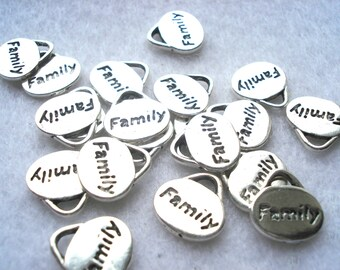 11mm Silver Tone Family Charms Pack of 12 Word Charms Family Pendant C48