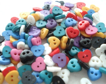 6mm Mini Resin Heart Buttons Doll Buttons Pack of 50 Very Small Heart Buttons A166
