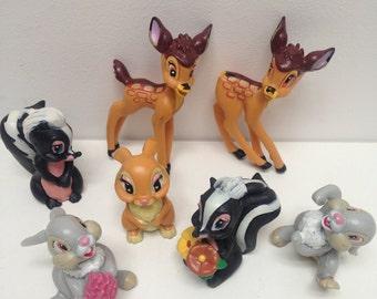 Vintage Disney 7 Bambi woodland rubber figures
