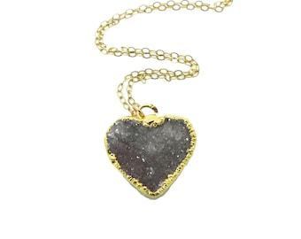 Heart Druzy Pendant Necklace, Gold Druzy Necklace, Druzy Stone Necklace, Heart Necklace