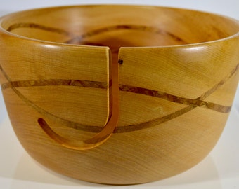 947 Yarn bowl, made from Big Leaf Maple with a double wave of Spalted Maple