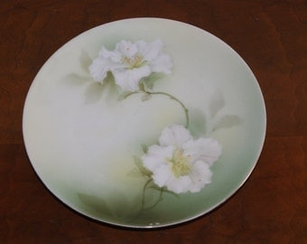 RS GERMANY Reinhold Schlegelmilch Hand Painted Floral Motif Plate Made 1912 To 1945 White Flowers