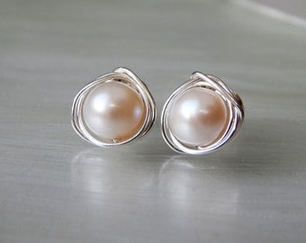 Large Pearl Stud Earrings, Freshwater Pearl Earrings, Pearl Post Earrings, Earrings, Wedding Jewelry, Bridesmaids Gifts, June Birthstone